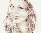 Original Custom Portrait Pencil Drawing from your photo, Sketch, Portraits by commission, Original artwork with doodles, FREE Digital Format