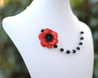 FREE EARRINGS, Red Poppy Flower Necklace, Red Flower Necklace, Bridesmaid Necklace, Statement Necklace