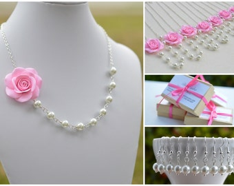 Pink Rose and Pearls Necklace, Pink Flower Necklace, Pink Bridesmaid Necklace, Pink Wedding