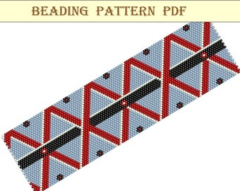 Beading pattern PDF. Bracelet - Rhombuses. Peyote  pattern. Peyote Stitch Beading .Beading Tutorial. Beading pattern PDF. Instant download.
