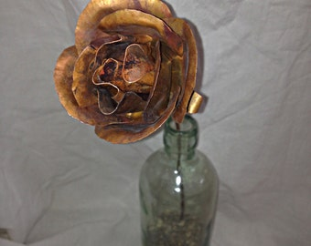 Large Hammered Copper Rose