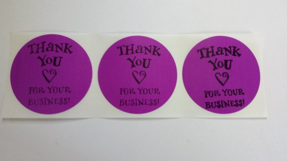 Purple  Sticker Label Thank you for Your Business  Envelope Seals Round Hand stamped Set of 15