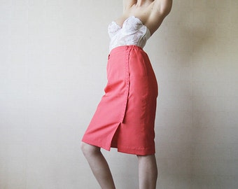 Salmon pink knee length pencil skirt