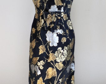 Plus Size Vintage Saks Fifth Avenue Black, Gold and Silver Dress