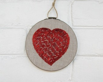 Beaded Embroidery Hoop Art - Red Heart Wall Art - Hand Stitched Beaded Art - Embroidered Heart Art - Love Wall Decor - Cotton Anniversary