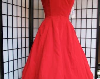 vintage 1950s rose red velvet full skirt prom evening VLV new look deadstock NOS gown