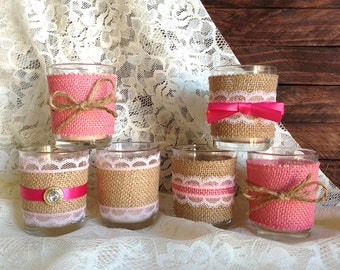 6 burlap and lace pink votive tea candles, wedding, bridal shower, tea party, birthday decoration candles