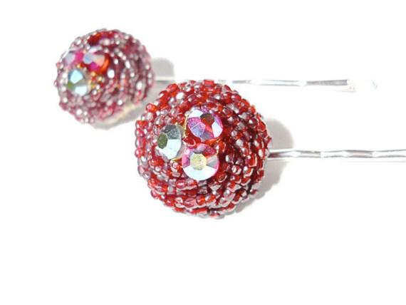 Red Rhinestone Hair Jewelry Bobby Pins (2)