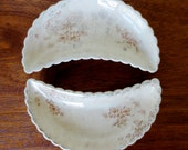 Antique Bone Dishes / Set of Two / Shabby Cottage Style Tableware / Scalloped Edge