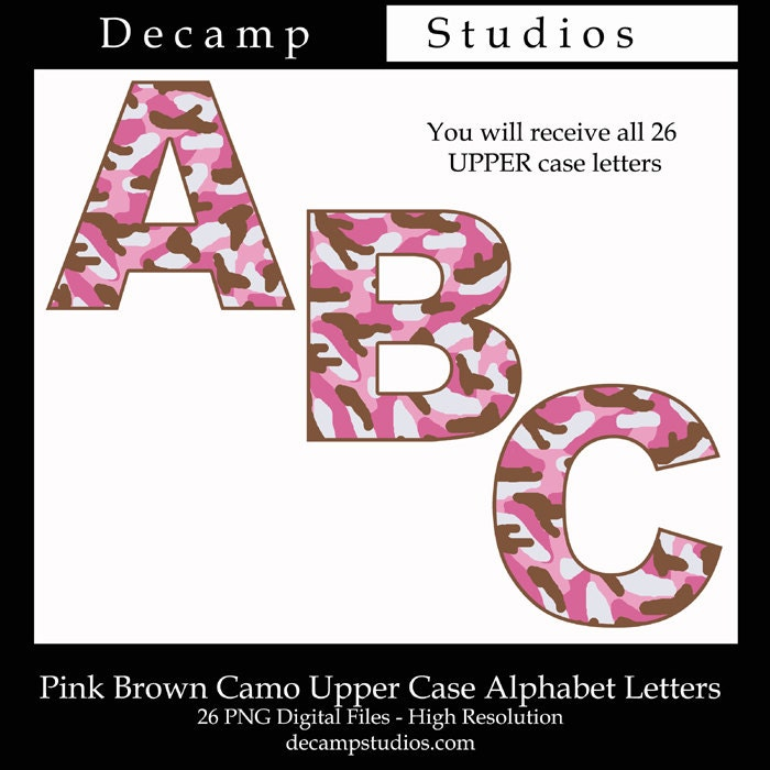 arts and letters pink camo letter clip art alphabet abc camouflage digital 1082