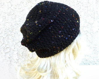 Slouchy hat Black Beanie Colorful confetti  Kawaii hat rocker goth beanie Slouchy beanie Crochet Hat Womens Hat Rainbow dots Slouch hat