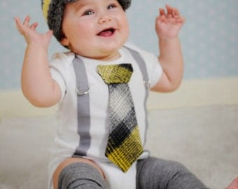 Baby Boy Tie Bodysuit with Suspenders and Tie. Preppy, Photo Prop, Fall, Winter