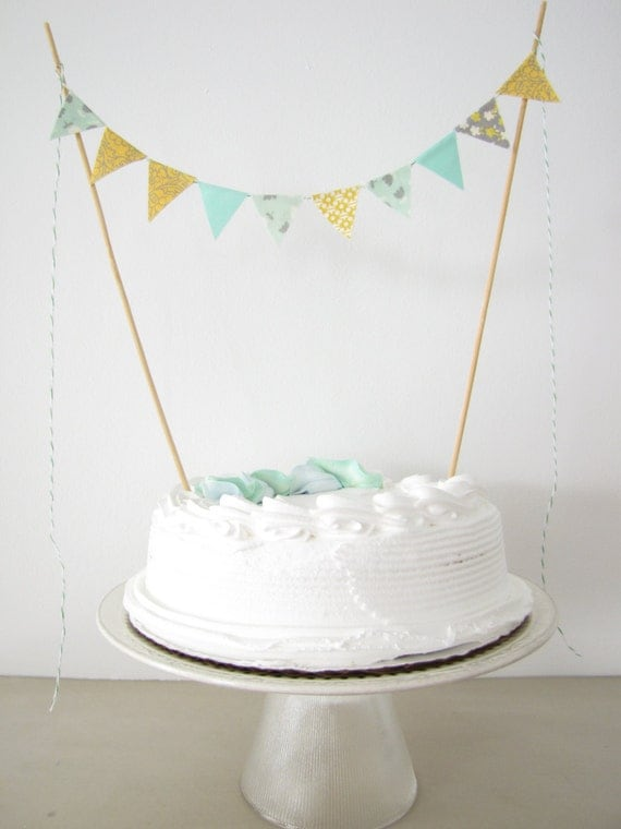 Fabric Cake Topper Bunting Decoration by AthenaandEugenia