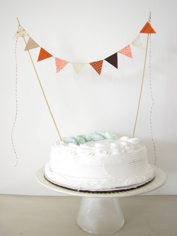 "Fabric Cake Topper - Bunting Decoration - Wedding, Birthday Party, Shower Decor ""Marmalade Cat"" orange stripe cream coral dots white floral"