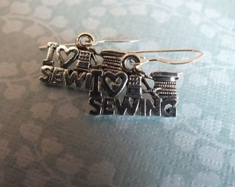 Sewing Jewelry -Sterling Silver Earrings with a knitting, sewing, quilting theme  I love Sewing