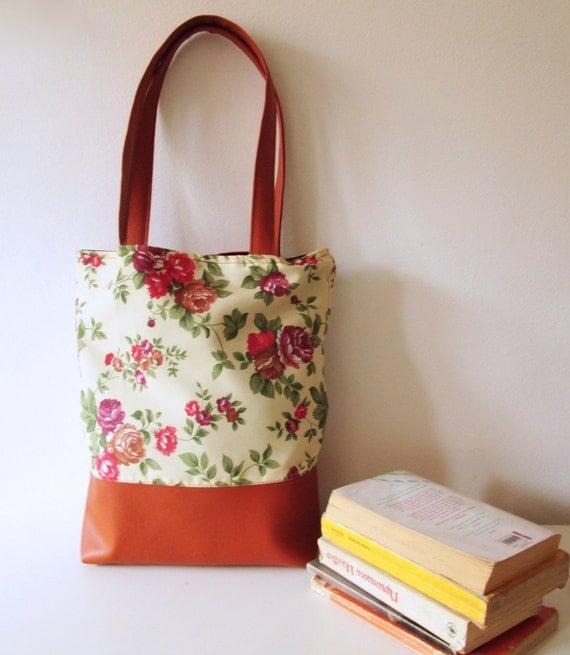 SALE Floral Tote bag Beach bag Shoppers bag Waterproof