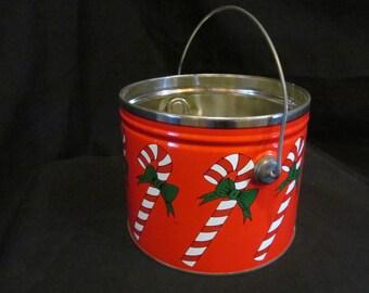 Vintage Christmas tin Pail Bucket