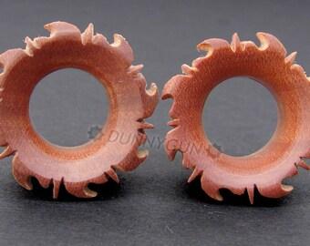 "5/8"" Pair Dyak Sunburst Tunnel Red Saba Wood Plugs Organic Hand Carved Body Piercing Jewelry gauge"