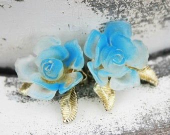 Vintage Mad Med Earrings Clip Ons Floral Flower Mad Men Earrings