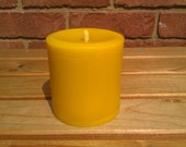 3 x 100% Pure English Beeswax Pillar Candle 75 Hr Burn 90x75mm Solid Cast