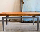 Floating Hickory Wood and Grey Metal Base Coffee Table