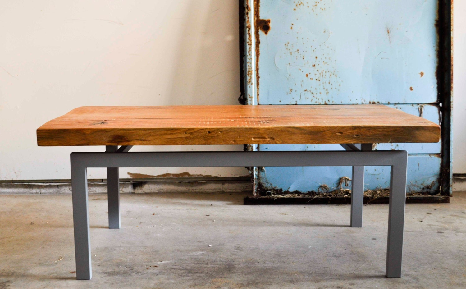 Floating hickory wood and grey metal base coffee table for Gray metal coffee table