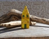 SALES, Rustic clay house, clay sculpture, fall winter home decor