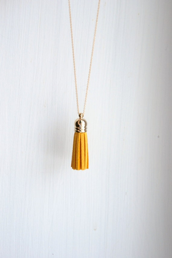 Tassel necklace, yellow suede tassel pendant, extra long gold chain, colorful, spring summer, layering necklace, modern jewelry - flirt mini
