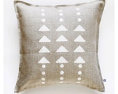 Geometric pillow print on linen cover hand painted - modern white triangles and polka dots pattern