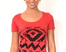Women's Chevron Shirt Hand Screen Printed on a Soft, fitted Lightweight Red Scoop neck with Navy Blue Ink