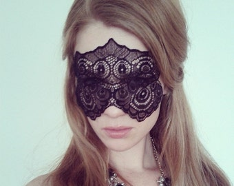 Mysterious Black Lace Mask - Masquerade Ball Lace Mask - Masquerade Wedding Mask - Mystery Mask - Boudoir Lace Mask - 50 shades of grey mask