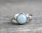 Aquamarine Ring, Stone Ring, Sterling Silver Filled Ring, Wire Wrapped Ring