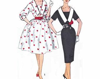 "1961 Vintage V Neck, Slim Cocktail or Bombshell Skirt  Dress, Sleeve Variations, Detachable Collar Simplicity 3320, Bust 34"" Uncut"