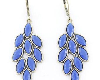 Elegant Simple Gold Tone Blue Leaf Shape Lever Back Dangle Drop Earrings,M2