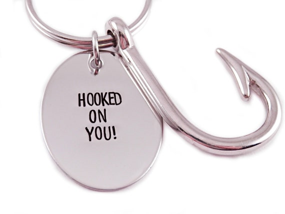 Personalized Fishing Key Chain - Hand Stamped Stainless Steel - Hooked On You - Gift for Grandpa - Gift for Dad - Gift for Him - Fish Hook