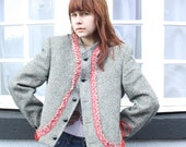 Customised Vintage Tweed Jacket with Ribbon Embellishment