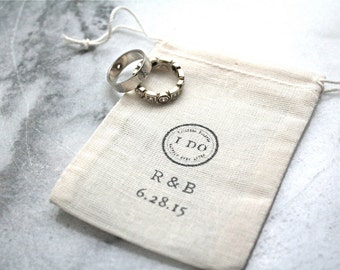 Personalized wedding ring bag.  Ring pillow alternative, ring bearer, ring warming.  Rustic muslin bag, I Do with initials and date.