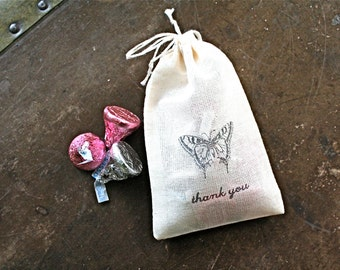 Wedding favor bags, set of 50 drawstring cotton bags, vintage butterfly image, thank you, party favors, bridal shower favor bags, cloth bag