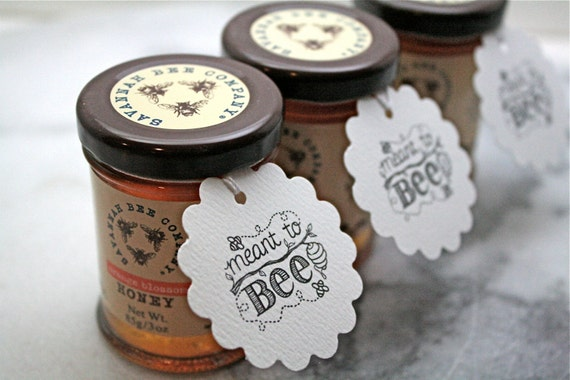 Wedding Favours And Gifts: Personalized Wedding Favor Tags Honey Tags 50. Meant To Bee