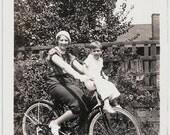Old Photo Woman on Bicycle Boy on Handlebars 1930s Photograph snapshot vintage Mother Son