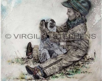 Puppy Love, original western oil painting of a little cowgirl playing with her dog, western art, original painting, dog art