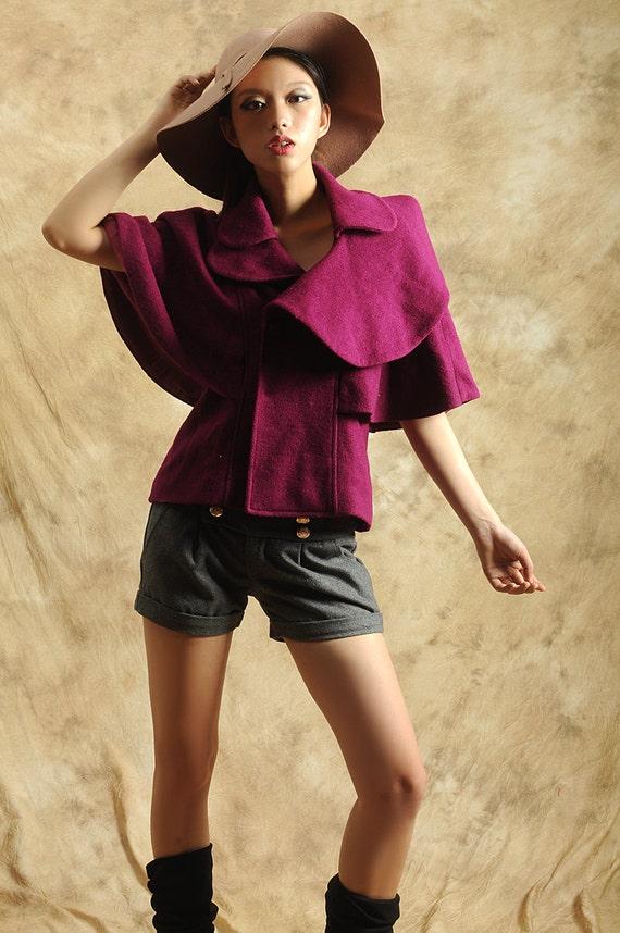 wool cape coat---purple black woolen coat jacket Loose coat Baby collar Bat sleeve Short overcoat Shawl