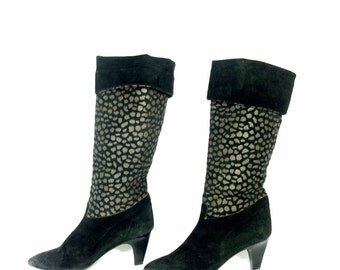 Tall Animal Print Leather Boots 7 - Leopard Cheetah Print Riding Boots 7 - High Heel Boots 7