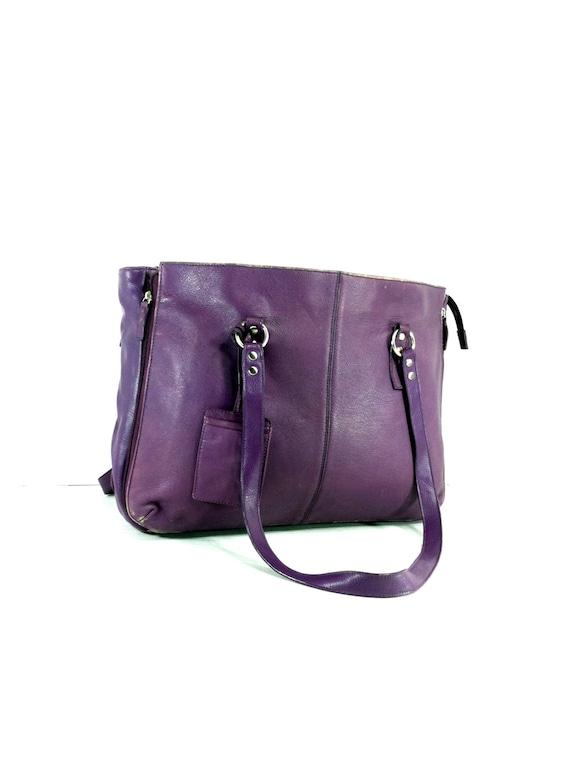 large purple leather tote purple leather shoulder bag