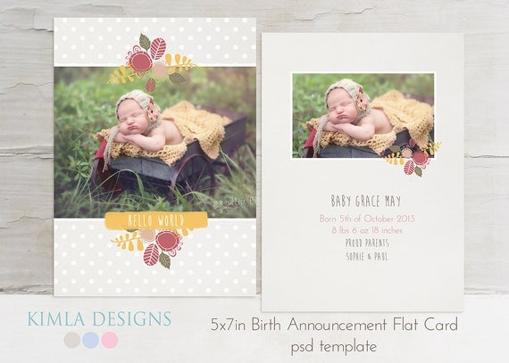 5x7 in Birth Announcement flat card, psd template, Baby Baby, fall set2