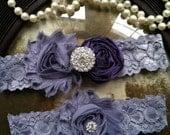 Wedding Garter - Eggplant purple garter - Garters - Toss Garter - Grey Lace Garter Set - Bridal Garters - Vintage - Grey - Gray - Rhinestone