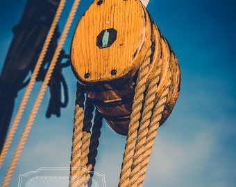 Sailboat Pulley Photograph. Nautical Photo. Pulley. Rope. Schooner. Wooden.  Boat Photography. Nautical Photography. Fine Art Photography.