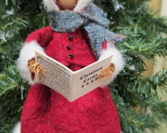 Christmas Caroler Ornament, Clothespin - Handmade