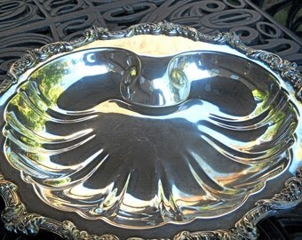 Vintage Poole EPCA Silver Footed Bowl, Old English Pattern, 5925, Scalloped Shape, Beautiful