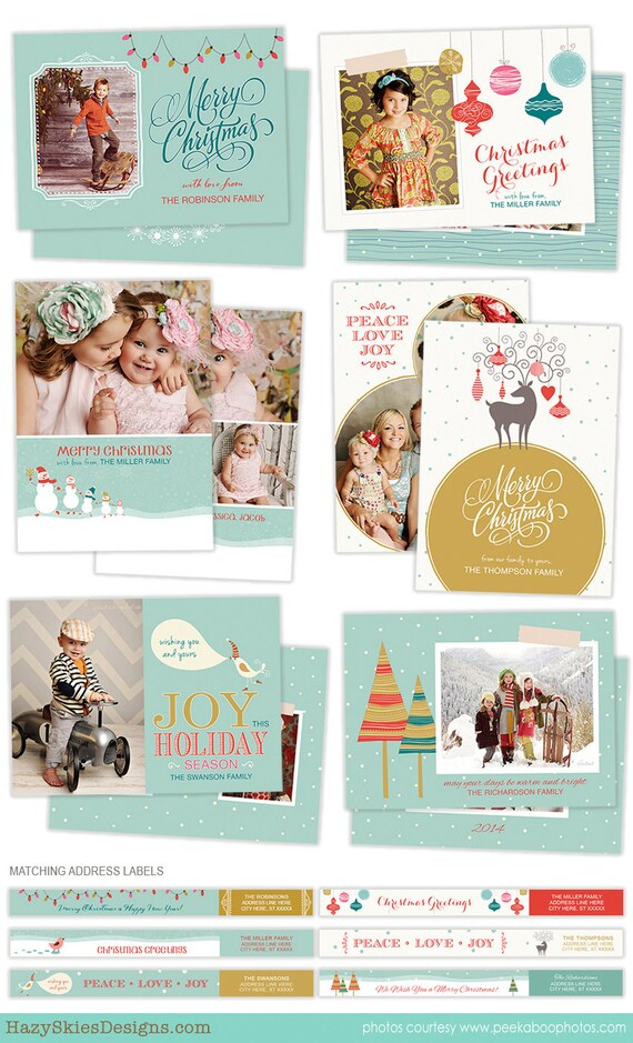 Card Template for Photographers - Holiday Card Templates - Photoshop ...